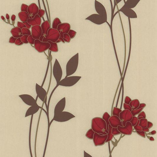 Graham And Brown Majestic Serene Red Floral Wallpaper 30 258