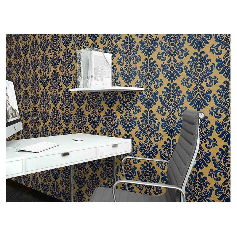 Bold Damask Vinyl Wallpaper Metallic Yellow Navy Blue Washable Rasch 546125