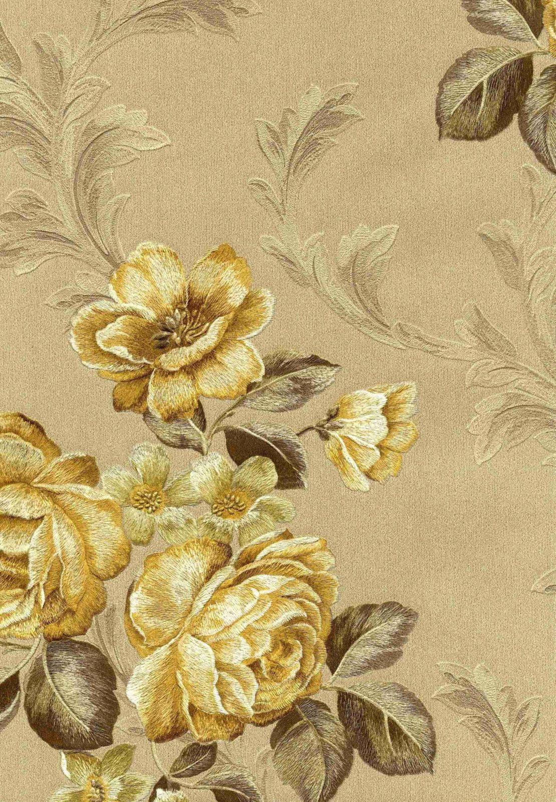 Zambaiti Piazza Grande Gold Floral Wallpaper 8526 Wallpaper World