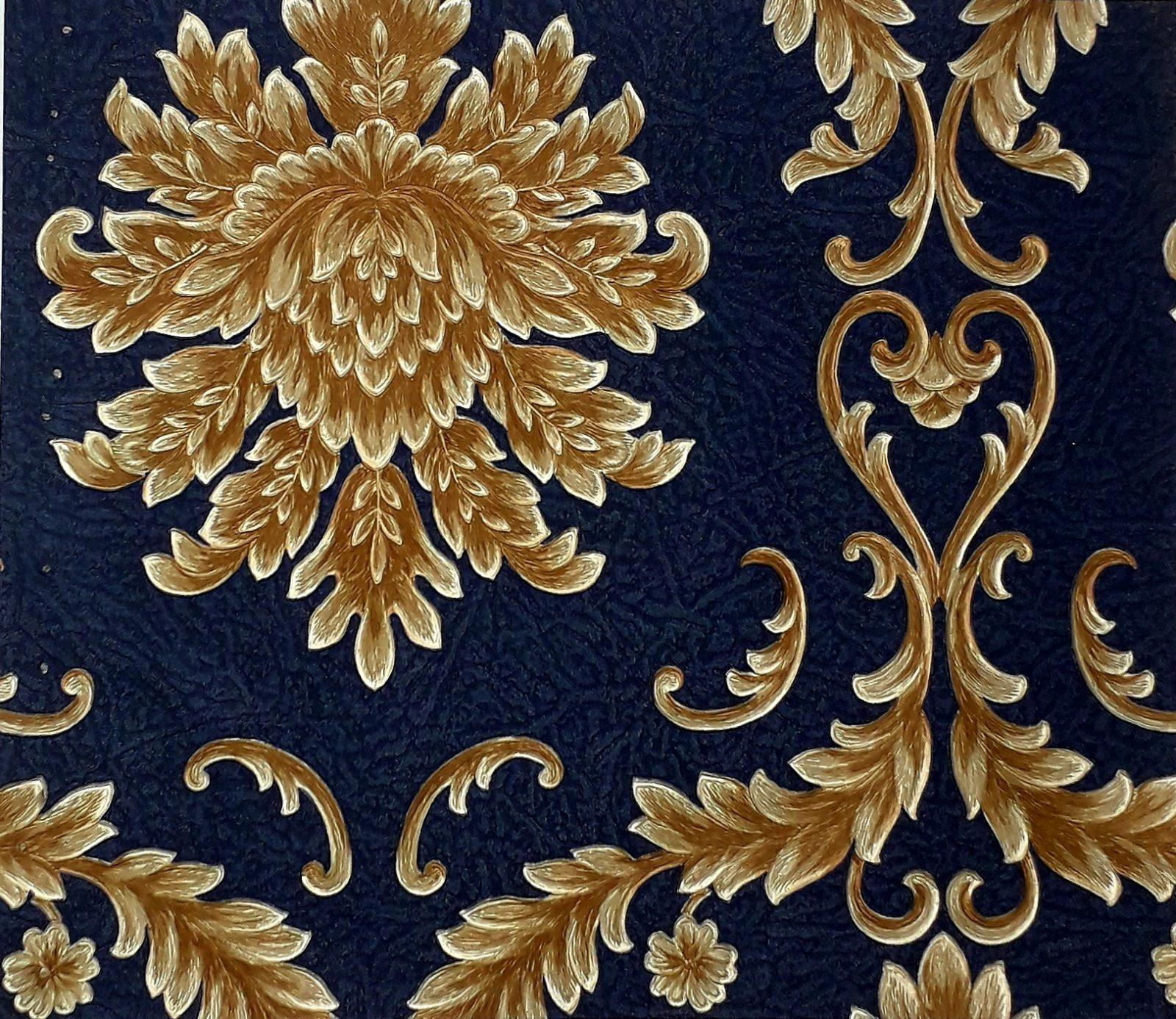 Alberto Pulino Blue And Gold Floral Damask Pattern Wallpaper