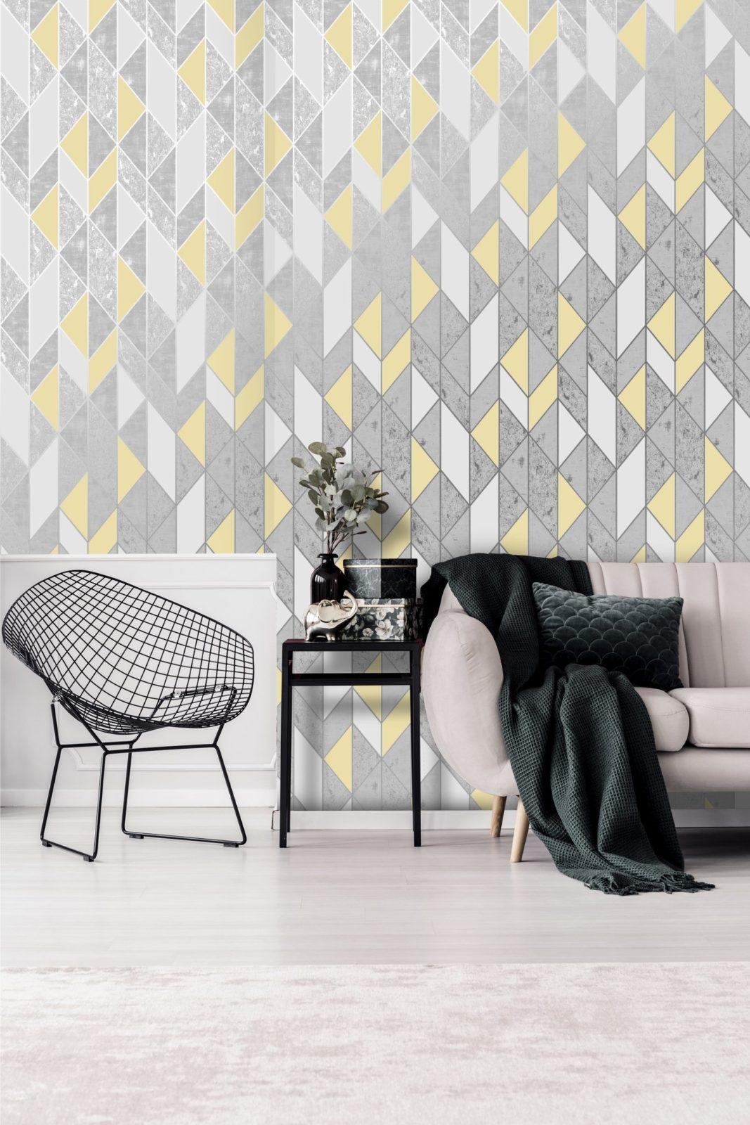 Graham And Brown Milan Geo Grey And Silver Wallpaper 106533