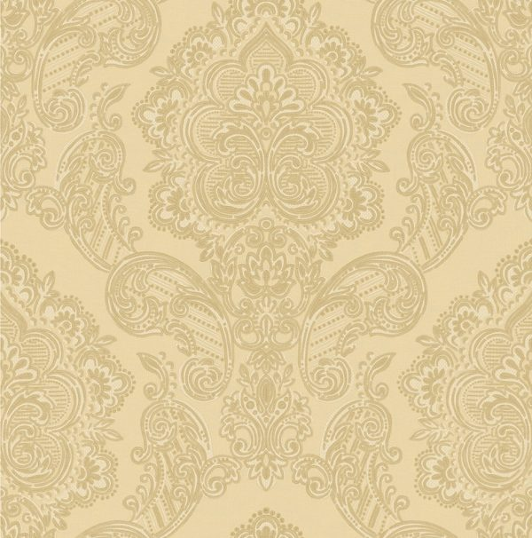 Asian Classic Cream And Gold Damask Wallpaper Ans10014 Wallpaper